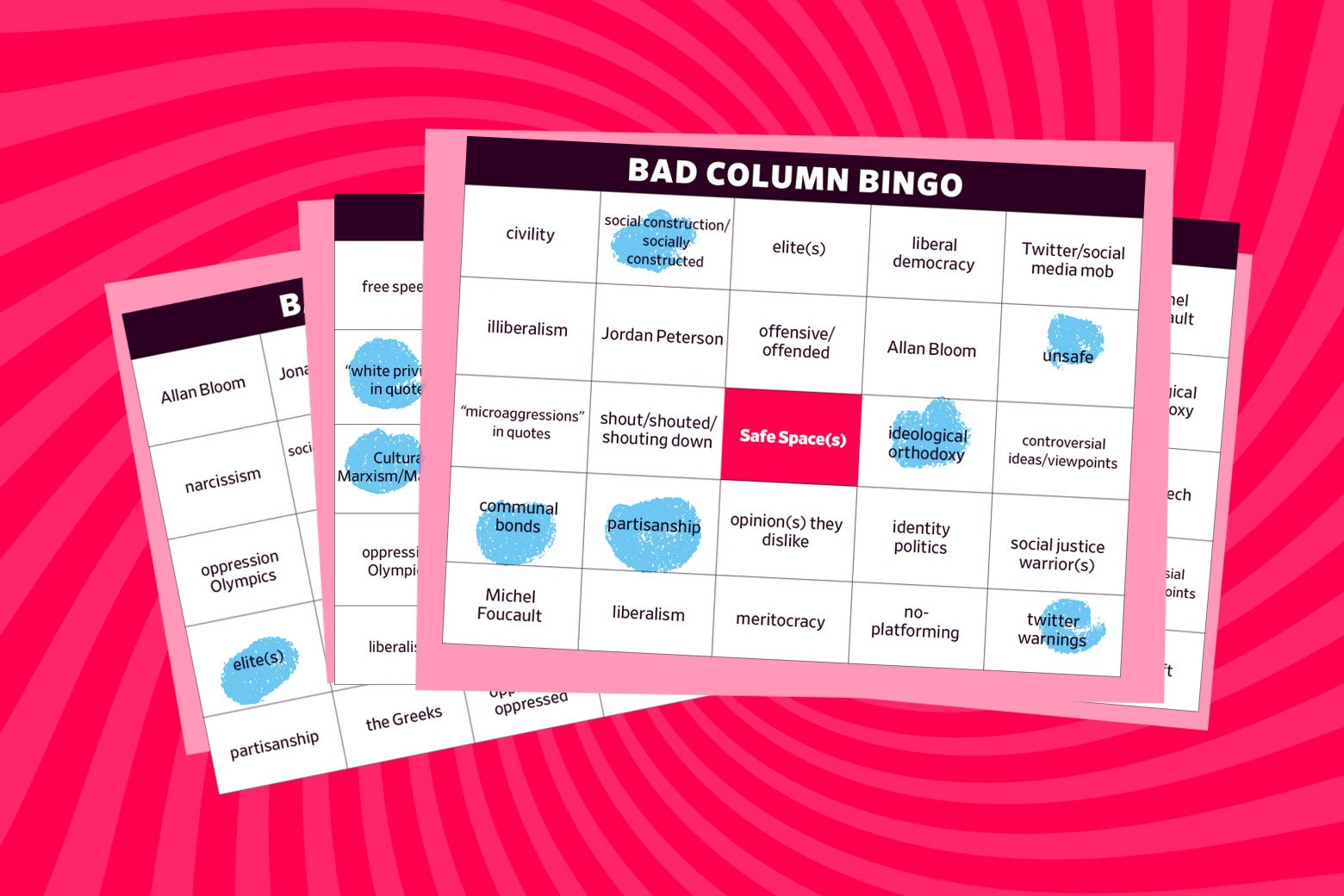 Bad Column Bingo cards.