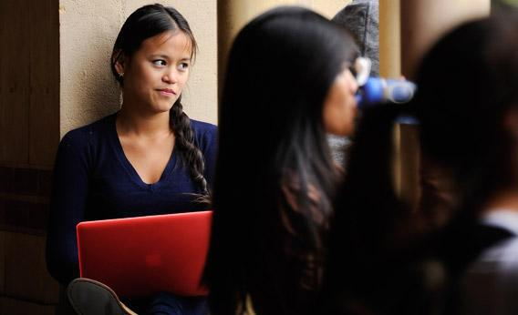 Students take a break at Royce Hall on the campus of UCLA in April in Los Angeles, California.