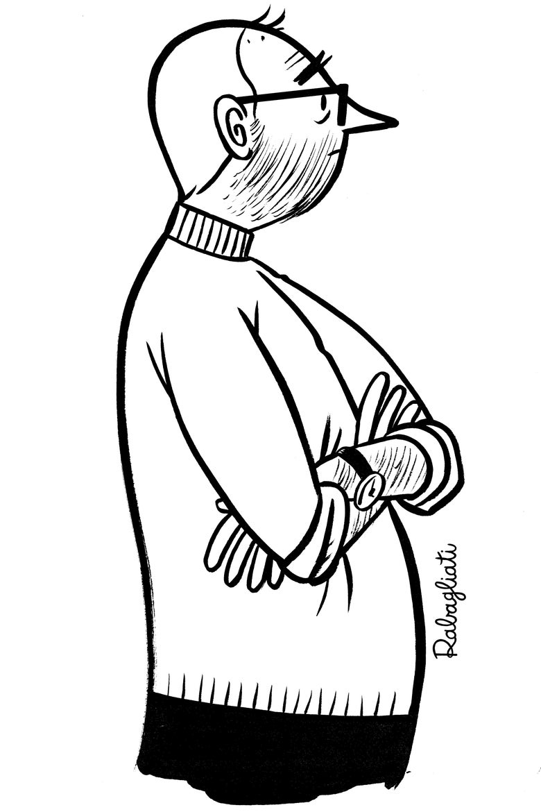 A cartoon of a middle-aged man standing with his arms folded