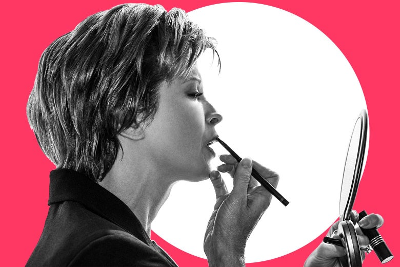 An illustration of a woman holding a lip pencil against her lips and looking at a compact mirror.