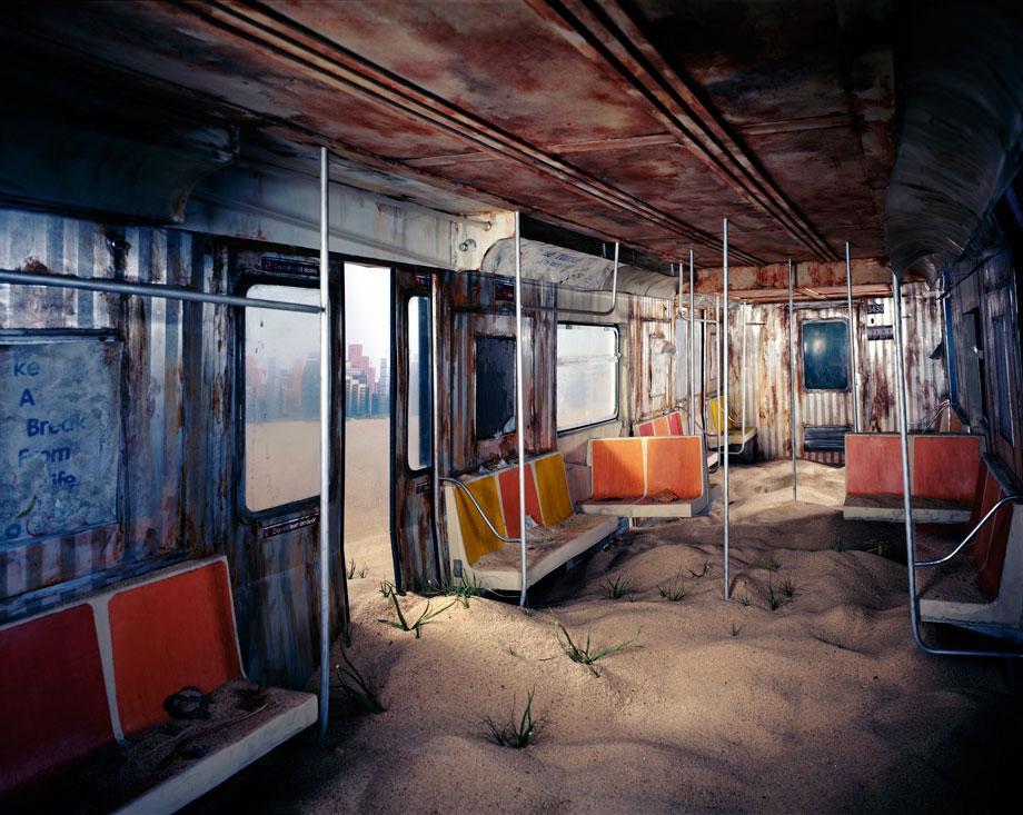 Lori Nix's photos of tiny dioramas of a post apocalyptic city.
