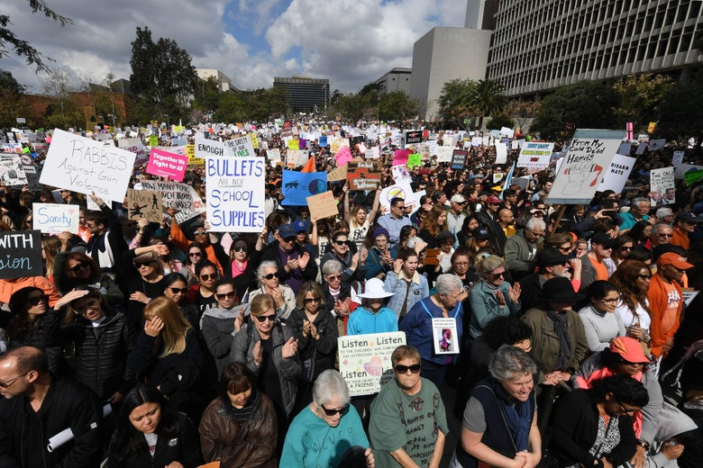 A large crowd gathers to protest for tighter gun laws during the student organized March For Our Lives rally in Los Angeles, California on March 24, 2018.
