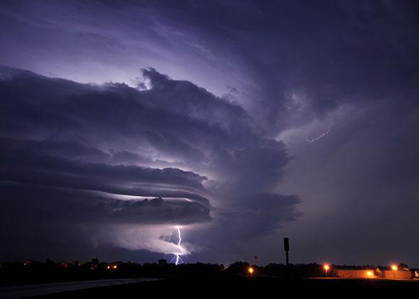 Lightning strikes on June 4, 2010 in Polo, Missouri.