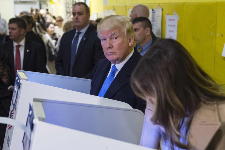 Donald Trump votes for himself.