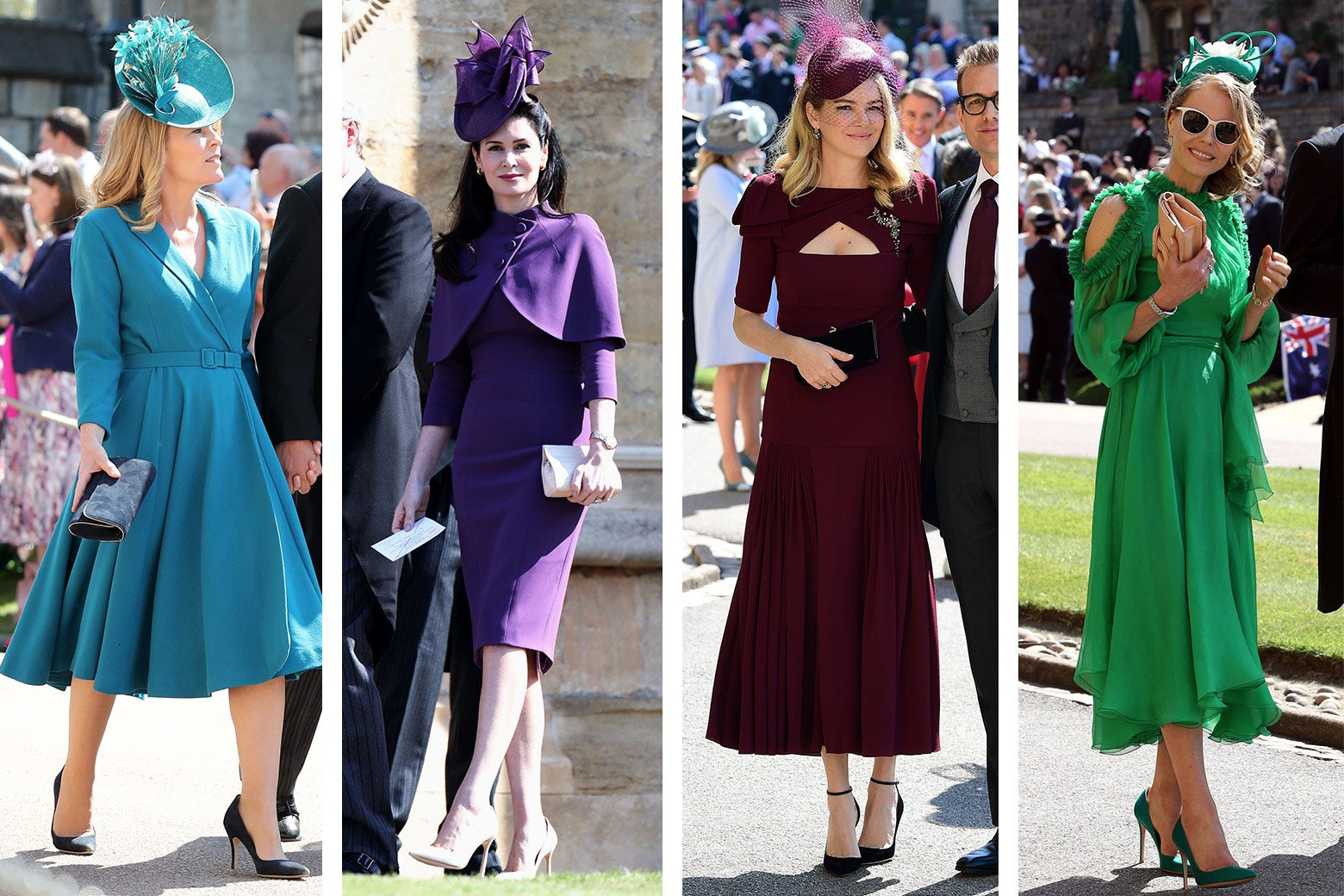 Autumn Phillips in blue, Karen Spencer in royal purple, Jacinda Barrett in Maroon, and Caroline Greenwood in green.