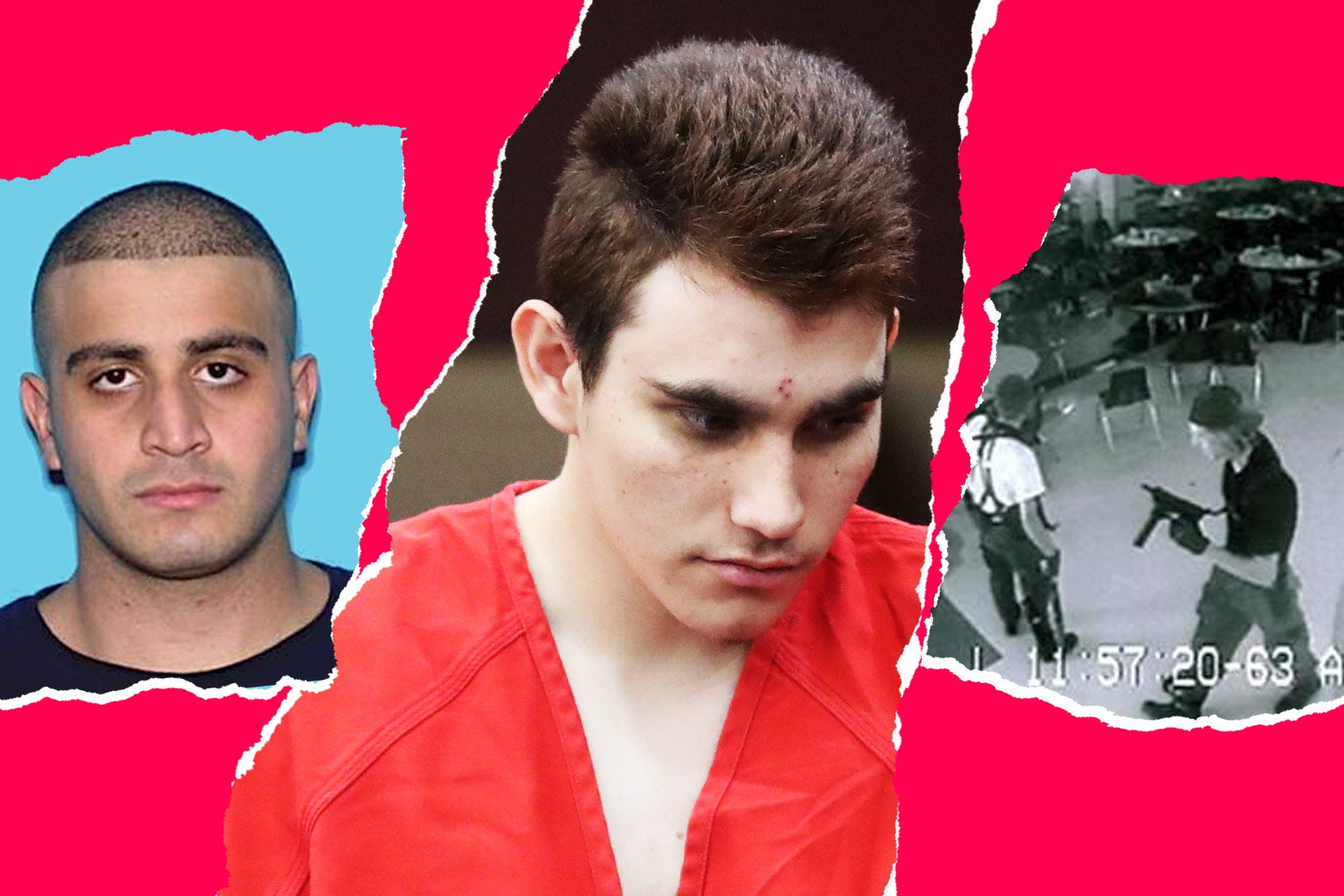 Photo illustration: Omar Mateen, Nikolas Cruz, and Eric Harris and Dylan Klebold.