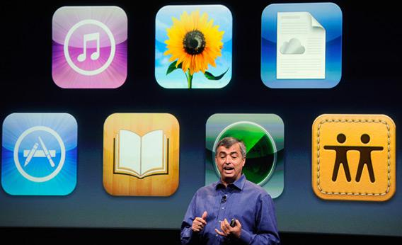 Apple's Eddy Cue introduces the iPhone 4S on Oct. 4.