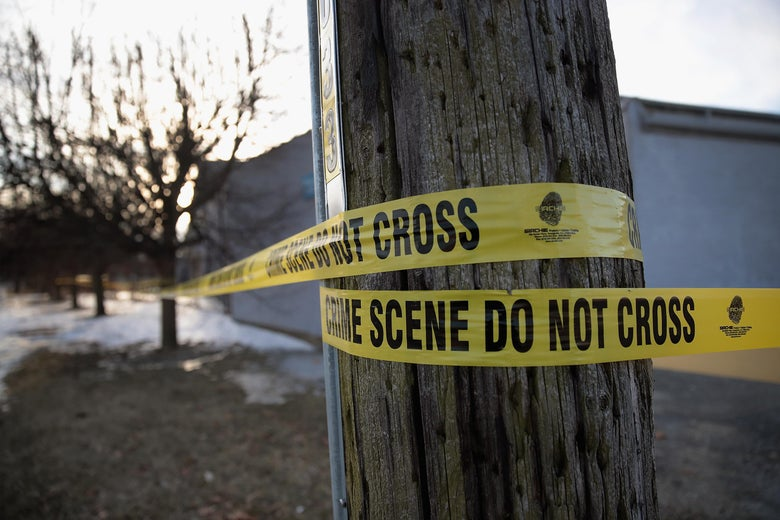 Crime scene tape surrounds the Shetland Business Park on February 16, 2019 in Aurora, Illinois.