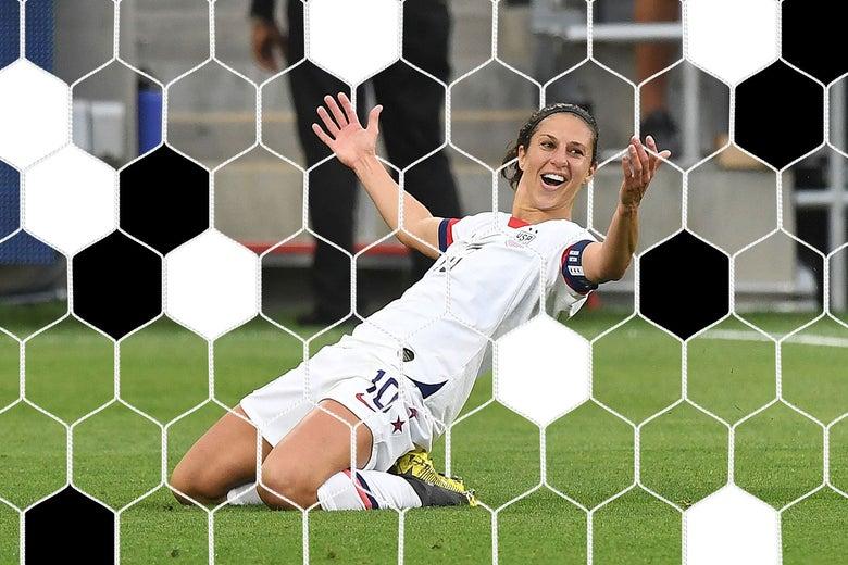 Carli Lloyd celebrates scoring a goal.