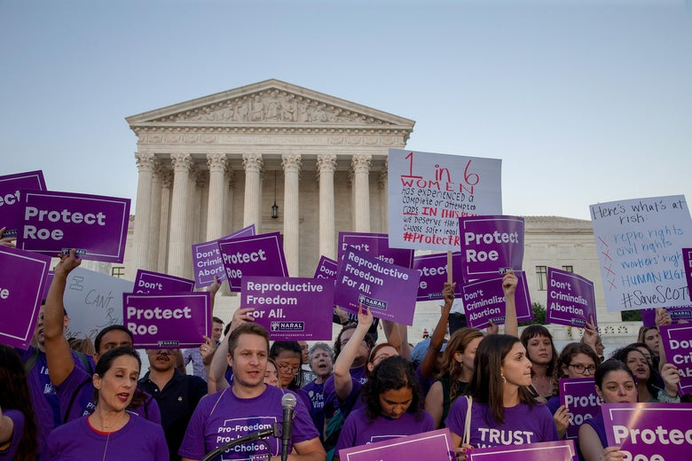 Pro-choice protesters demonstrate in front of the U.S. Supreme Court on July 9, 2018.