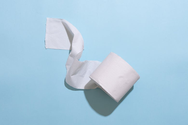 A roll of toilet paper against a blue background.