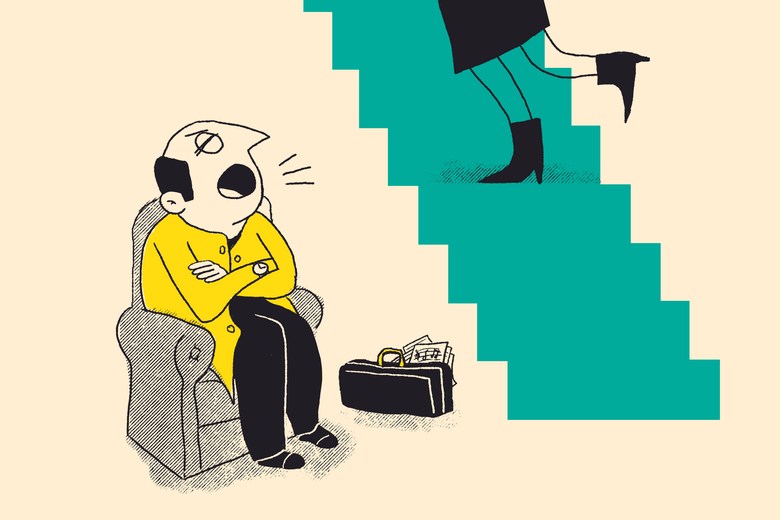 A man sitting in an easy chair yells as a young woman stomps up the stairs.