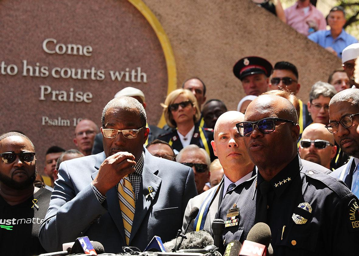 Dallas Police Chief David Brown speaks at a prayer vigil following the deaths of five police officers last night during a Black Live Matter march on July 8, 2016 in Dallas, Texas.