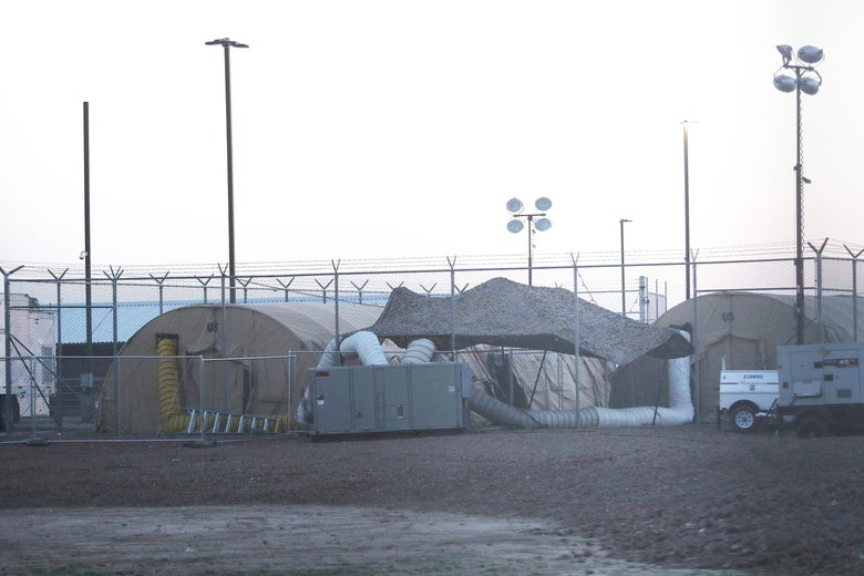 Tents at the U.S. Border Patrol station where lawyers reported that detained migrant children were held unbathed and hungry on June 25, 2019 in Clint, Texas.