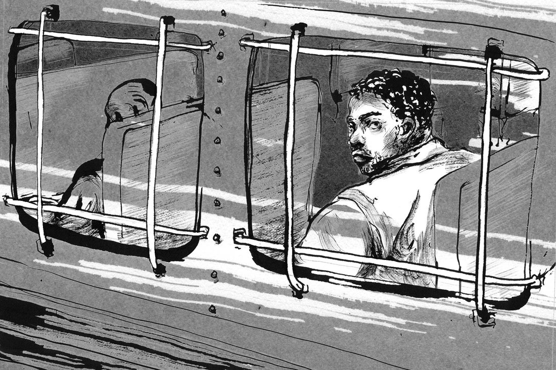 Prison bus transport illustration: An inmate looks out the barred bus window.