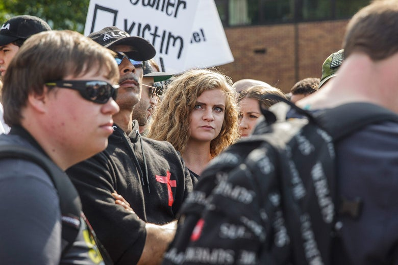 Kaitlin Bennett at a protest at Kent State University.