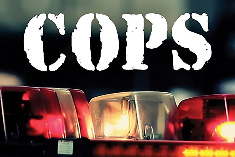 The logo for the TV show Cops, showing a patrol car's flashing lights.