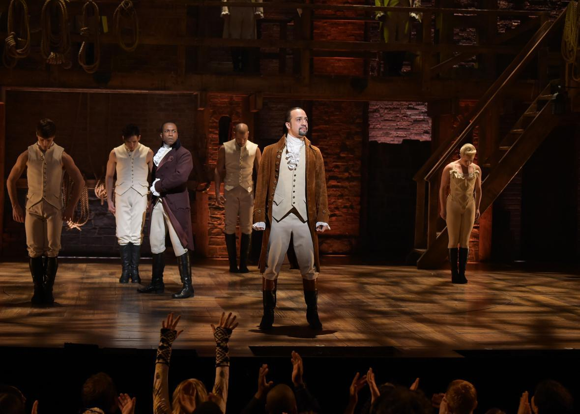 The cast of Hamilton performs for the Grammys
