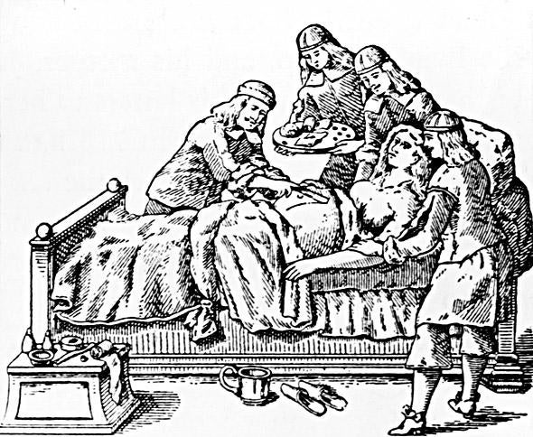 Doctors perform a caesarean section, circa 1650. Woodcut from the works of 17th Century surgeon Johann Schultes.