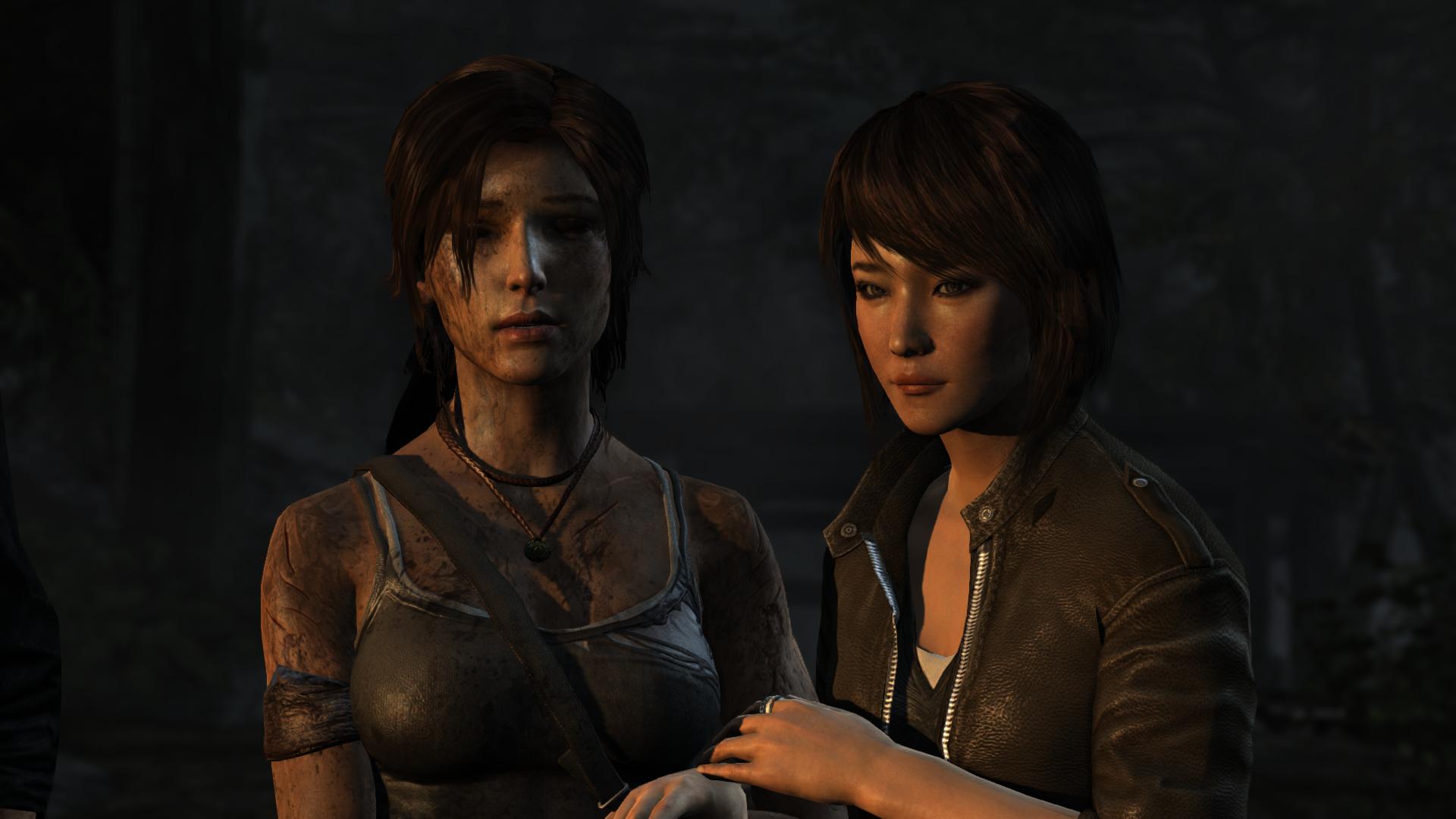 Lara Croft and Sam Nishimura in the 2013 Square Enix game Tomb Raider.
