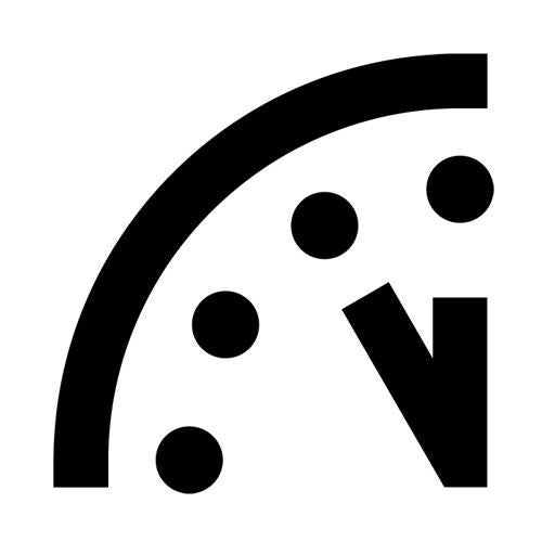 The Doomsday Clock is now set to five minutes to midnight.
