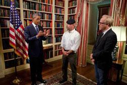 President Barack Obama records an episode of the Discovery Channel's television show Mythbusters with co-hosts Jamie Hyneman and Adam Savage. Click image to expand.