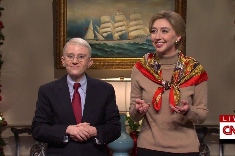 Kate McKinnon, dressed as Anthony Fauci, and Heidi Gardner, dressed as Deborah Birx, in a still from SNL.