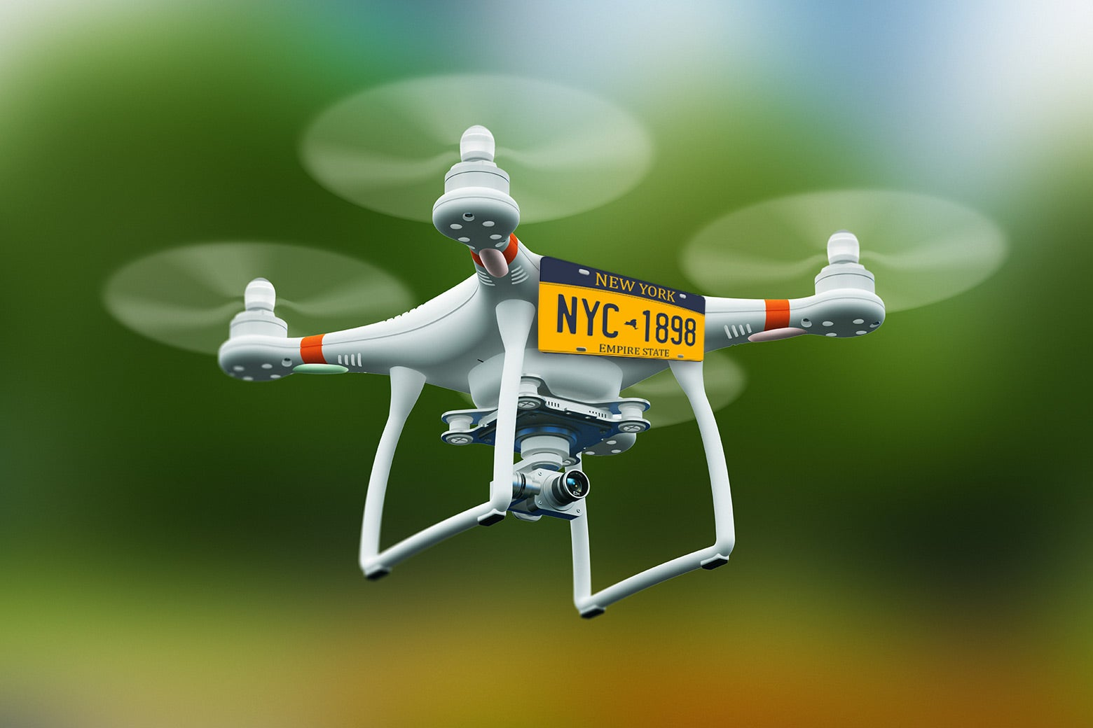 A drone with a New York state license plate.