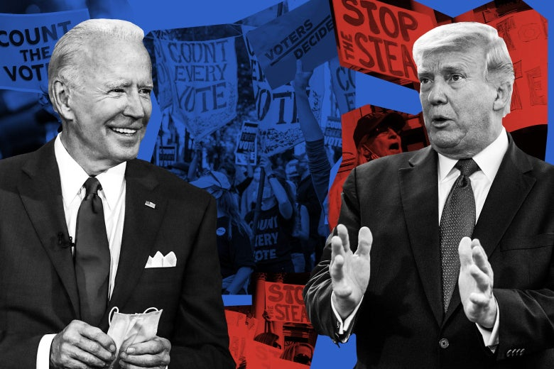 "Joe Biden and Donald Trump are seen in front of protest signs reading ""Stop the Steal"" and ""Count Every Vote"""