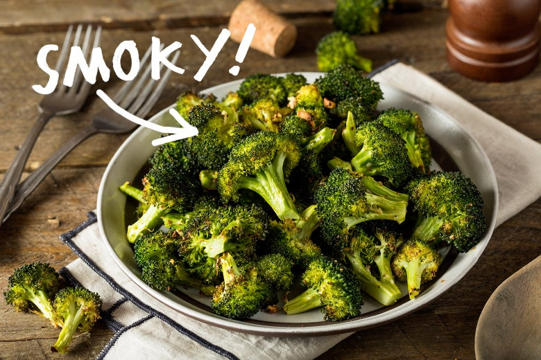 "A dish of broccoli florets seasoned with pimentón de la Vera, with the word ""SMOKY!"" hovering over it."