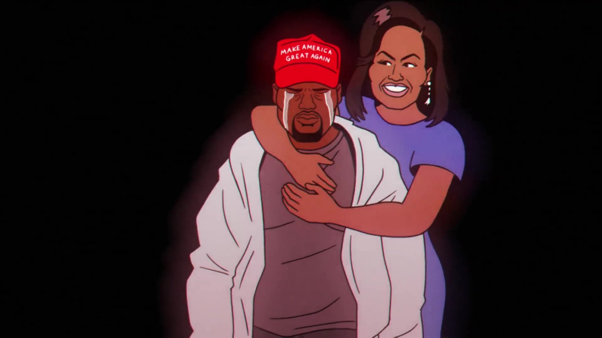 "An animated version of Michelle Obama hugging an animated version of Kanye West, who is wearing a ""Make America Great Again"" hat."