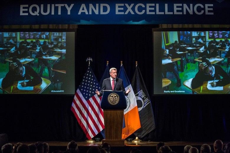 New York City Mayor Bill de Blasio at Bronx Latin School on Sept. 16, 2015.