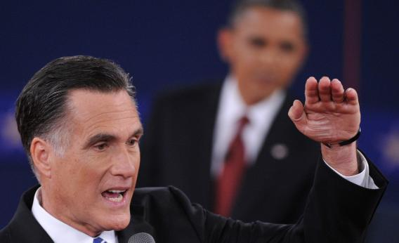 President Obama and presidential candidate Mitt Romney participate in the second presidential debate.