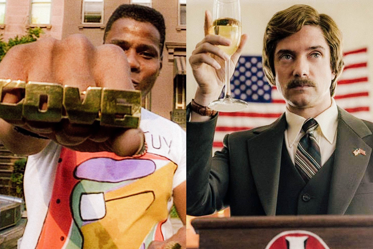 Bill Nunn as Radio Raheem in Do the Right Thing and Topher Grace as David Duke in BlacKkKlansman.
