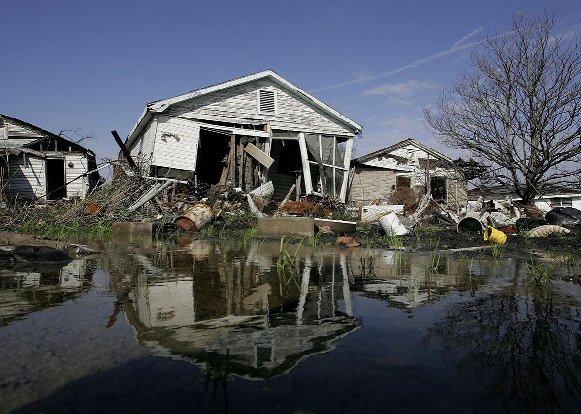 A damaged home is seen in the Lower Ninth Ward on February 22, 2