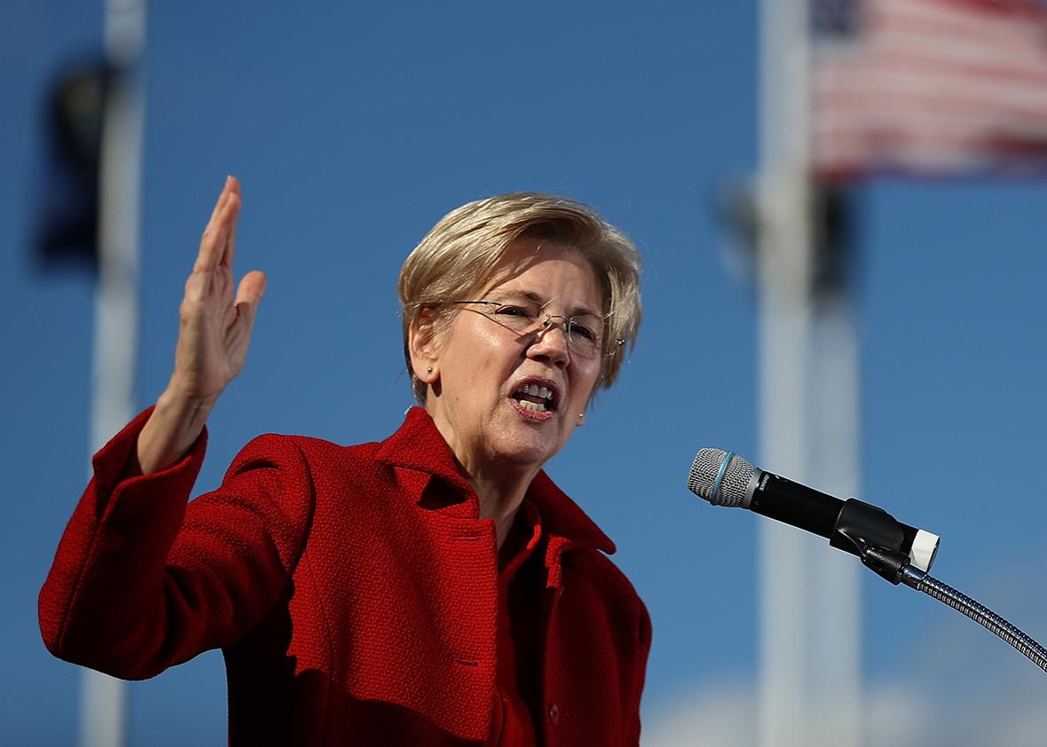 U.S. Sen. Elizabeth Warren (D-MA) speaks during a campaign rally with democratic presidential nominee former Secretary of State Hillary Clinton at St Saint Anselm College on October 24, 2016 in Manchester, New Hampshire.