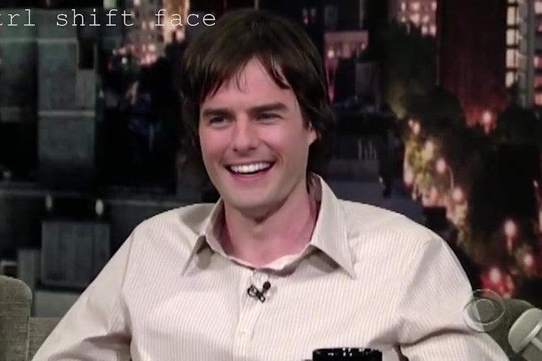 A still from a deepfake video showing Bill Hader wearing Tom Cruise's face.