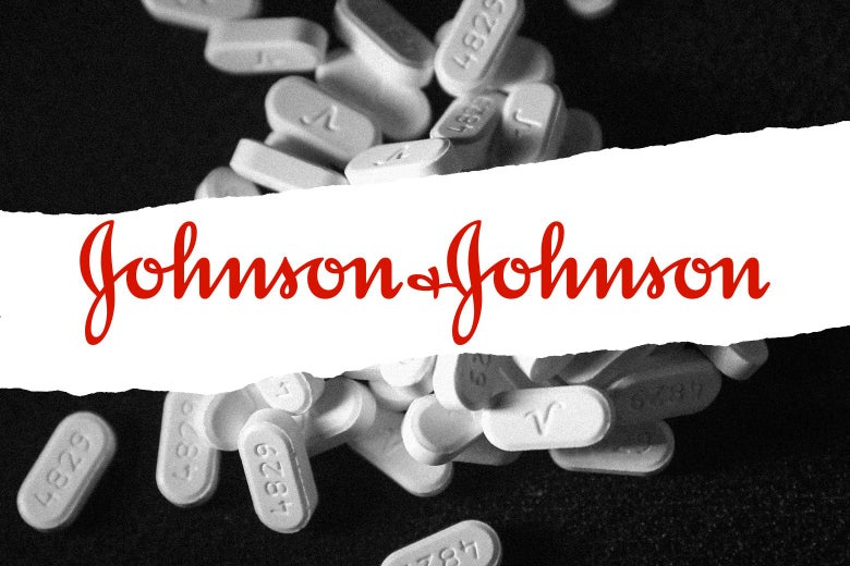 Photo illustration of the Johnson & Johnson logo over Oxycodone pain pills.