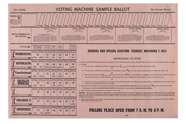 A 1972 sample voting ballot from Pennsylvania.
