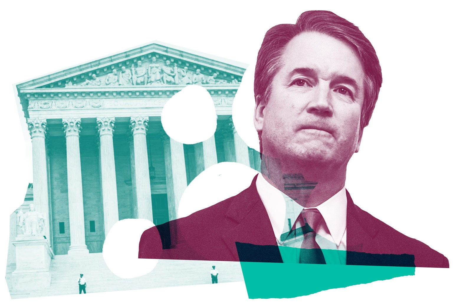 Collage of Supreme Court and Brett Kavanaugh.