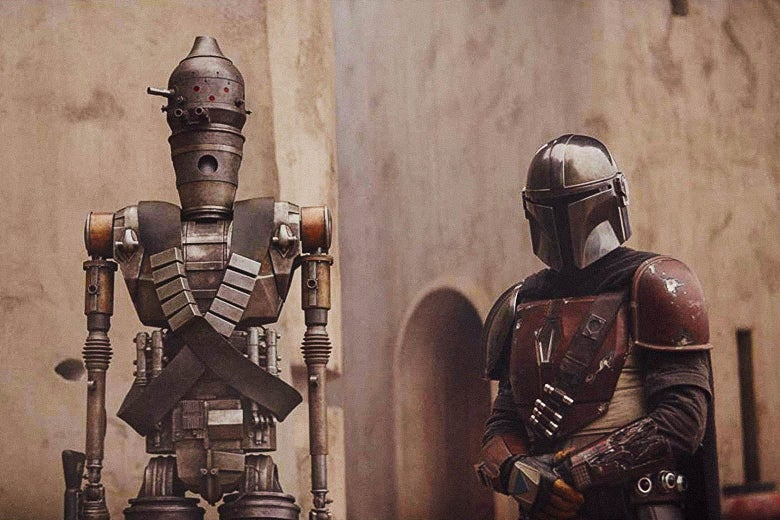 IG-11, a droid voiced by Taika Waititi, and Pascal as the Mandalorian.