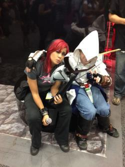 Meléndez with an Assassin's Creed 3 cosplayer taking a breather at the AC3 booth during San Diego Comic-Con 2012.