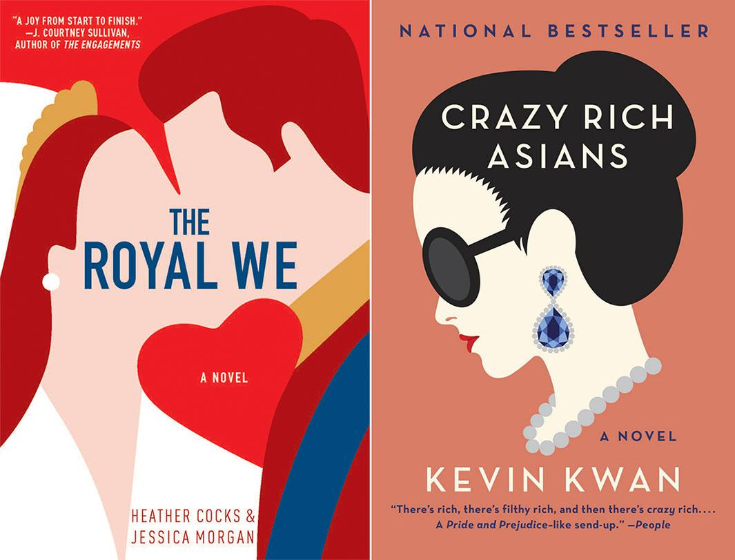 The covers of The Royal We and Crazy Rich Asians.