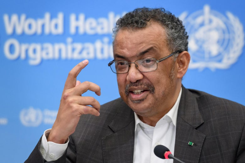 Tedros speaks at a mic at a World Health Organization press conference.