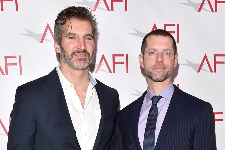 Benioff and Weiss on the red carpet.