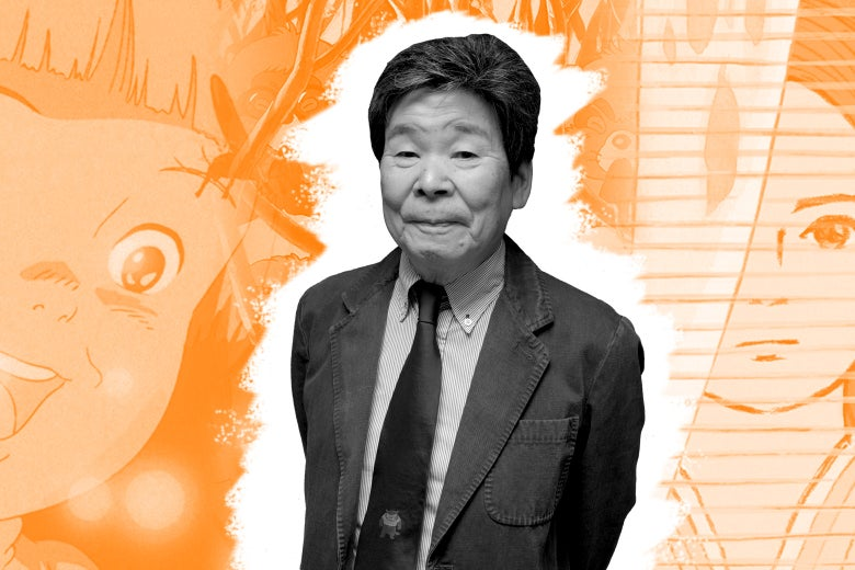 Isao Takahata in front of a collage of Studio Ghibli films.