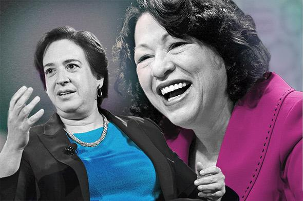 Supreme Court justices Elena Kagan, left, and Sonia Sotomayor.