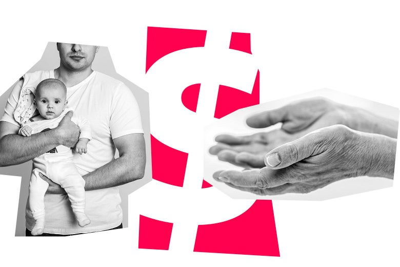 Man holding a baby, a graphic of a dollar sign, and a pair of hands holding out toward the baby.