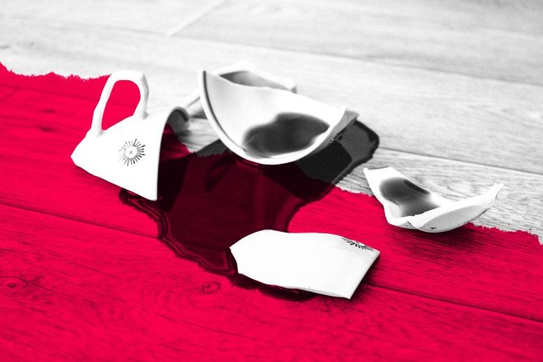 A shattered coffee mug.