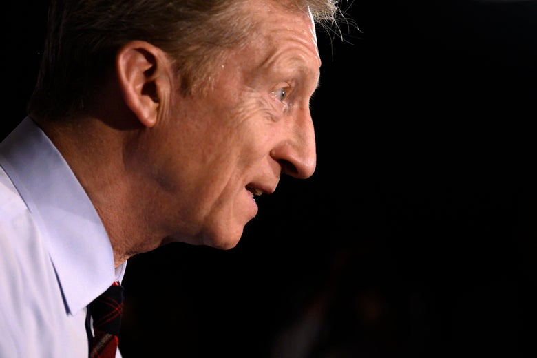 A profile photo of democratic presidential hopeful Tom Steyer's face as he speaks during a town hall.